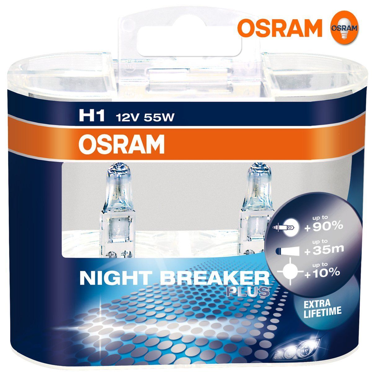 osram night breaker plus h1 bulb set. Black Bedroom Furniture Sets. Home Design Ideas